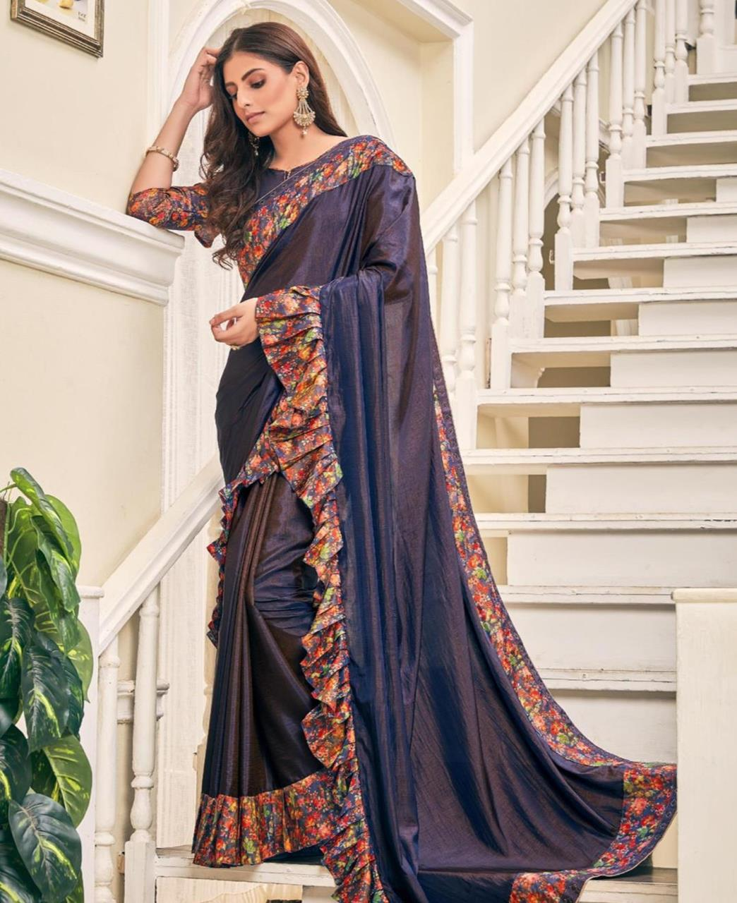Printed Silk Saree (Sari) in Navyblue