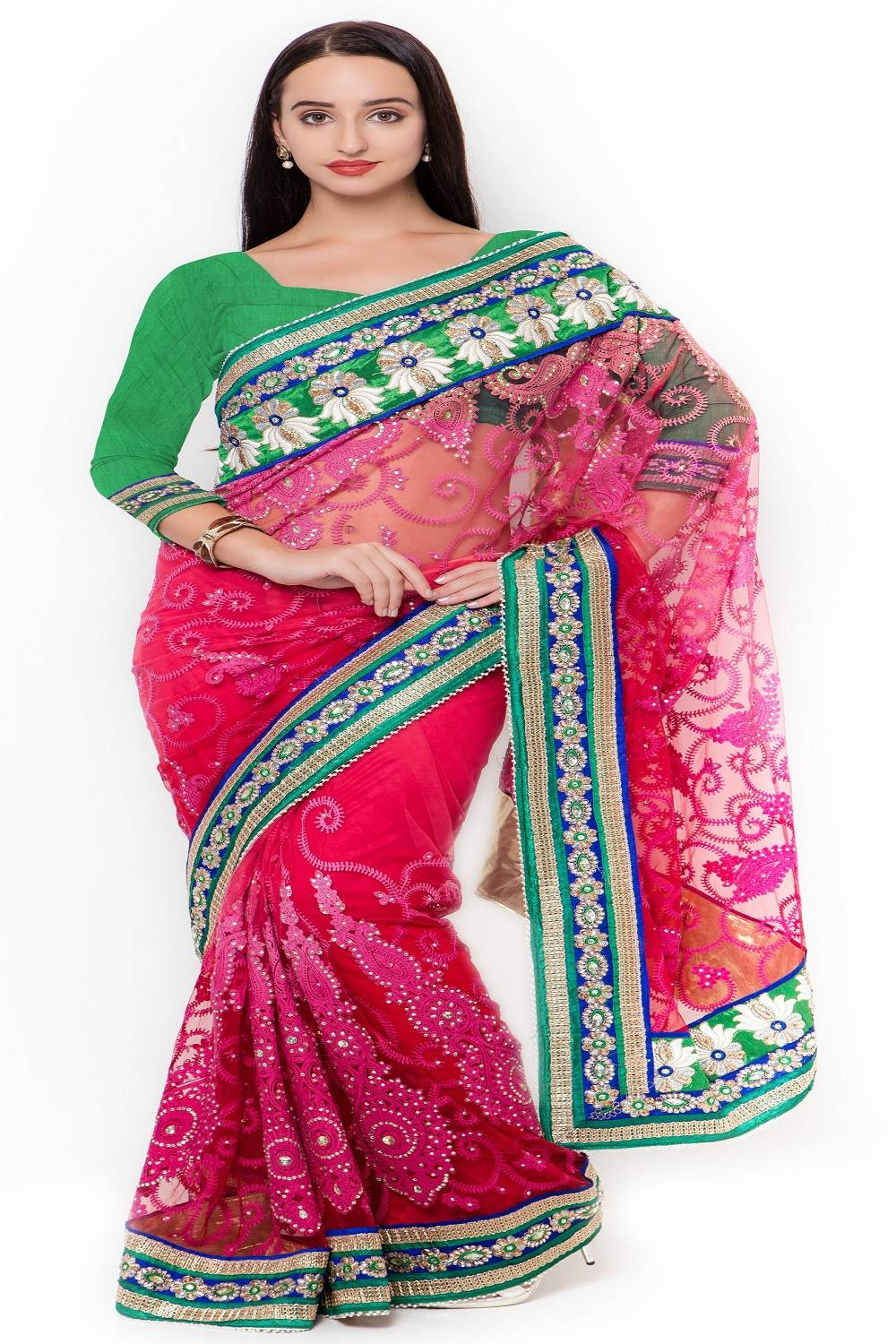 Embroidered Net Saree (Sari) in Red