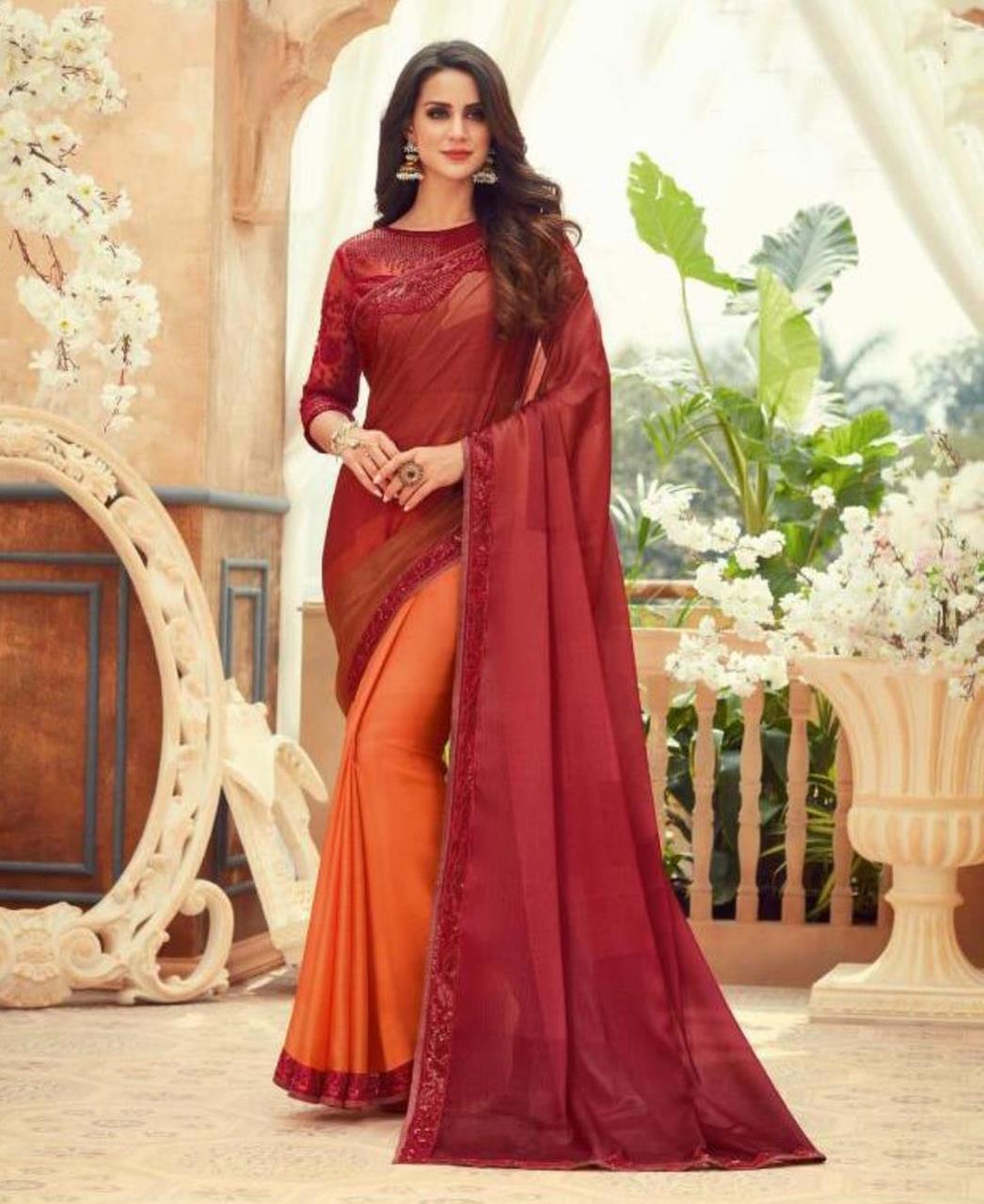 Embroidered Chiffon Saree in Red  ,  Orange
