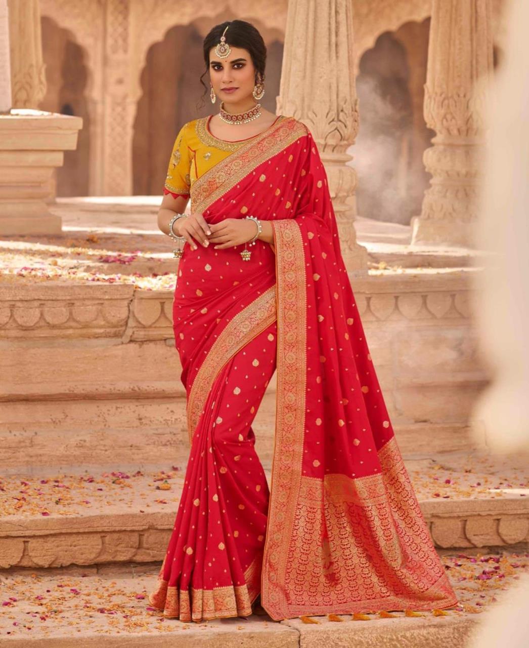 Stone Work Silk Saree in Red