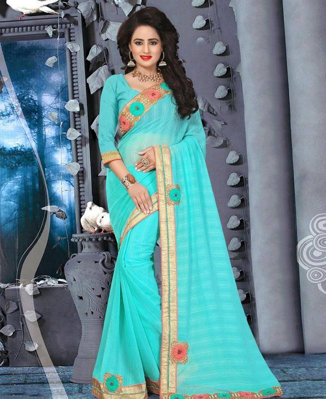 Lace Chiffon Saree (Sari) in Blue