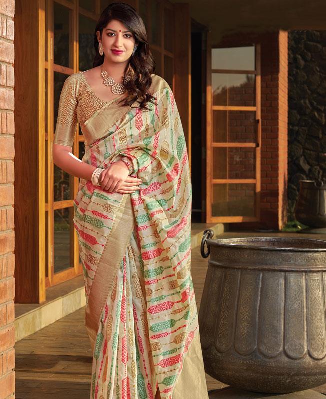 Woven Banarasi Silk Saree in Cream