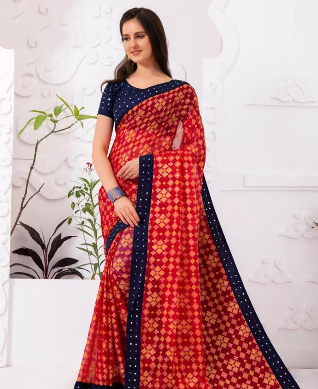 Embroidered Chiffon Saree in Red