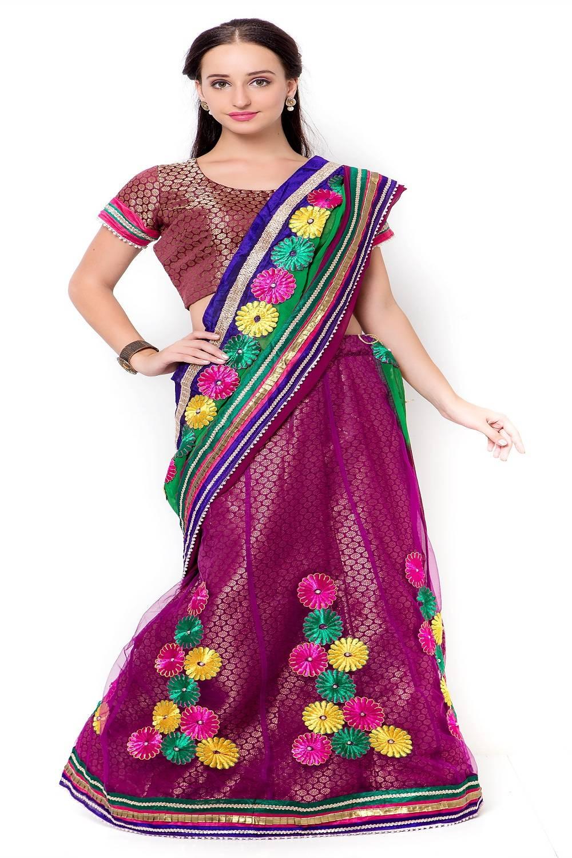 Embellishments Faux Georgette Saree (Sari) in Maroon