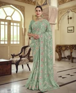 Resham Chiffon Saree in Green