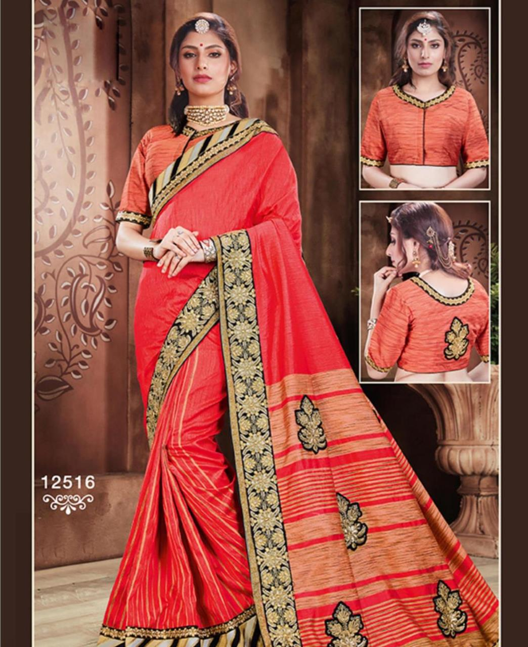 Embroidered Silk Saree (Sari) in Red