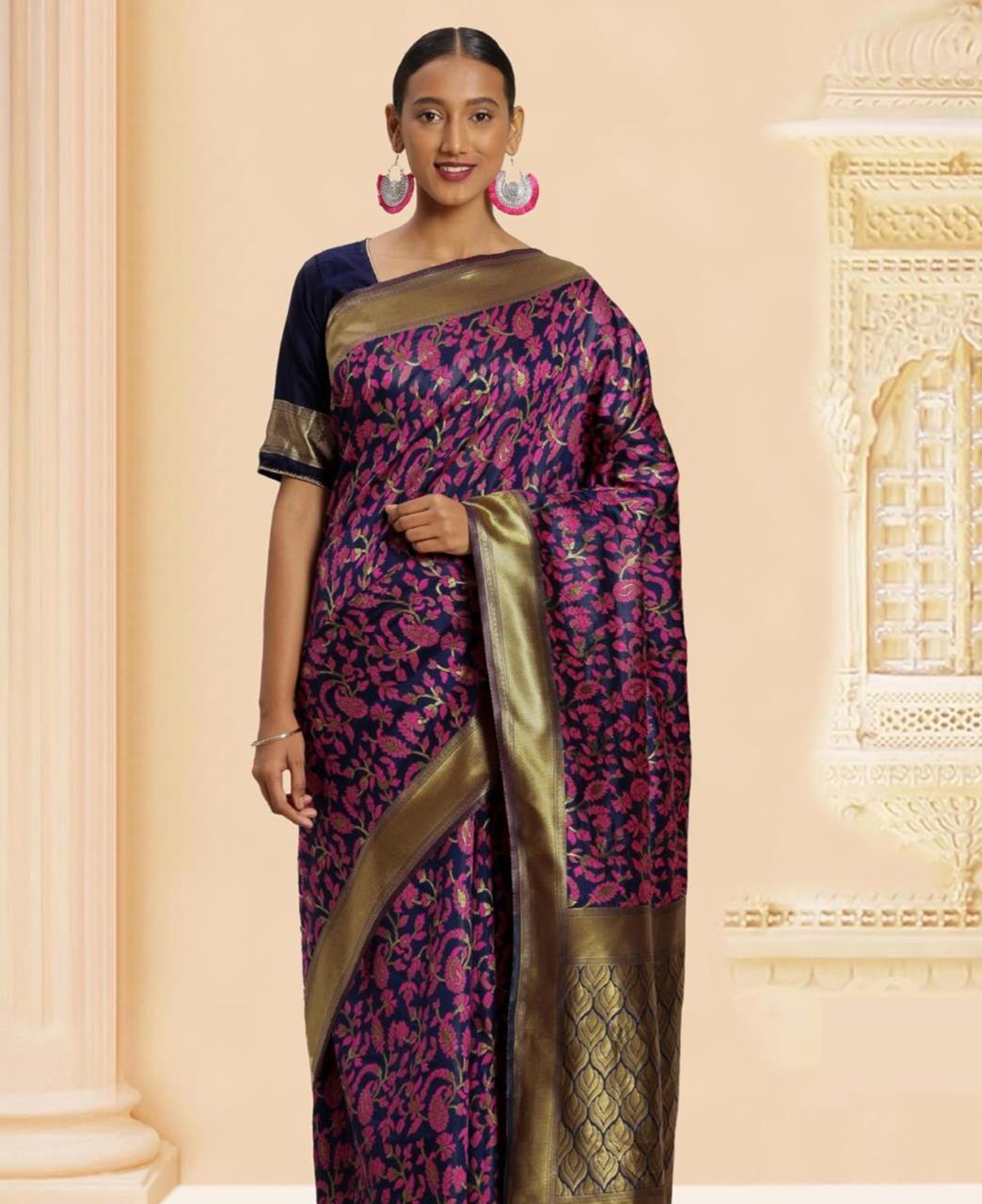 Woven Banarasi Silk Saree in Purple