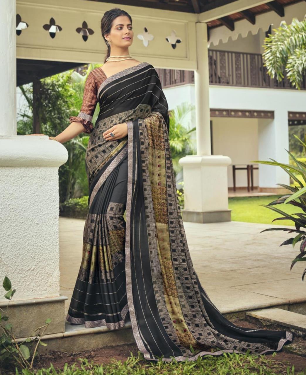 Printed Chiffon Saree in Black
