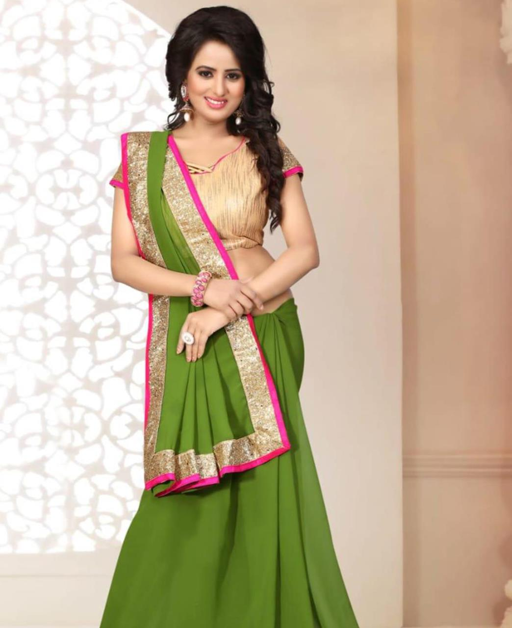 Lace Georgette Saree (Sari) in Green