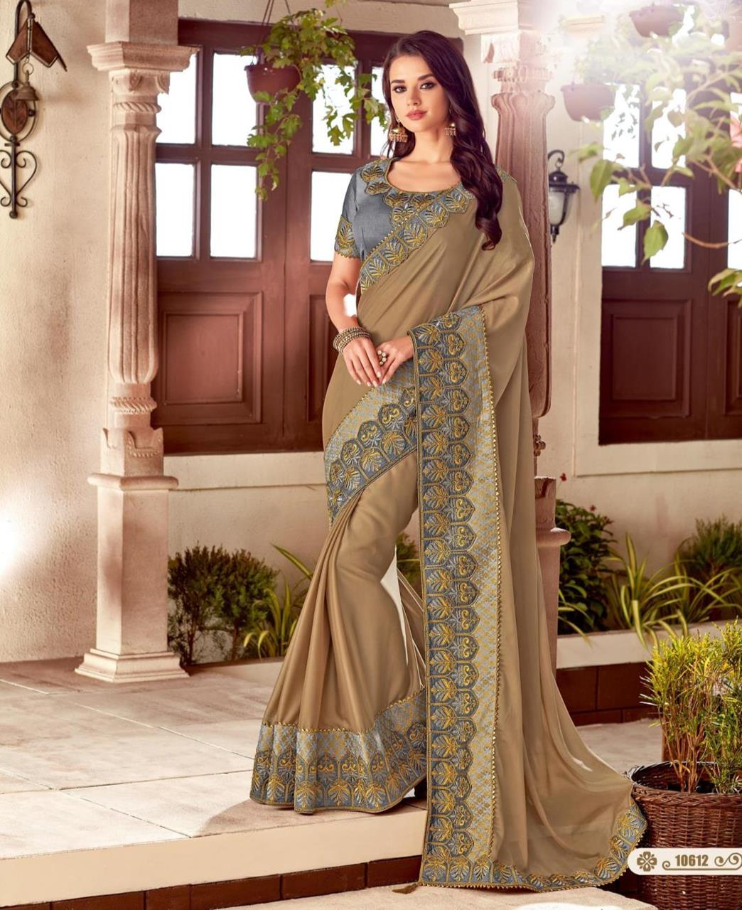 Thread Work Silk Saree (Sari) in Brown