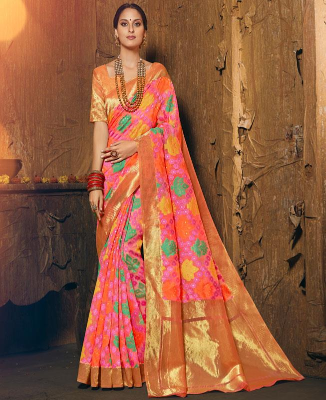 Woven Silk Saree in Pink