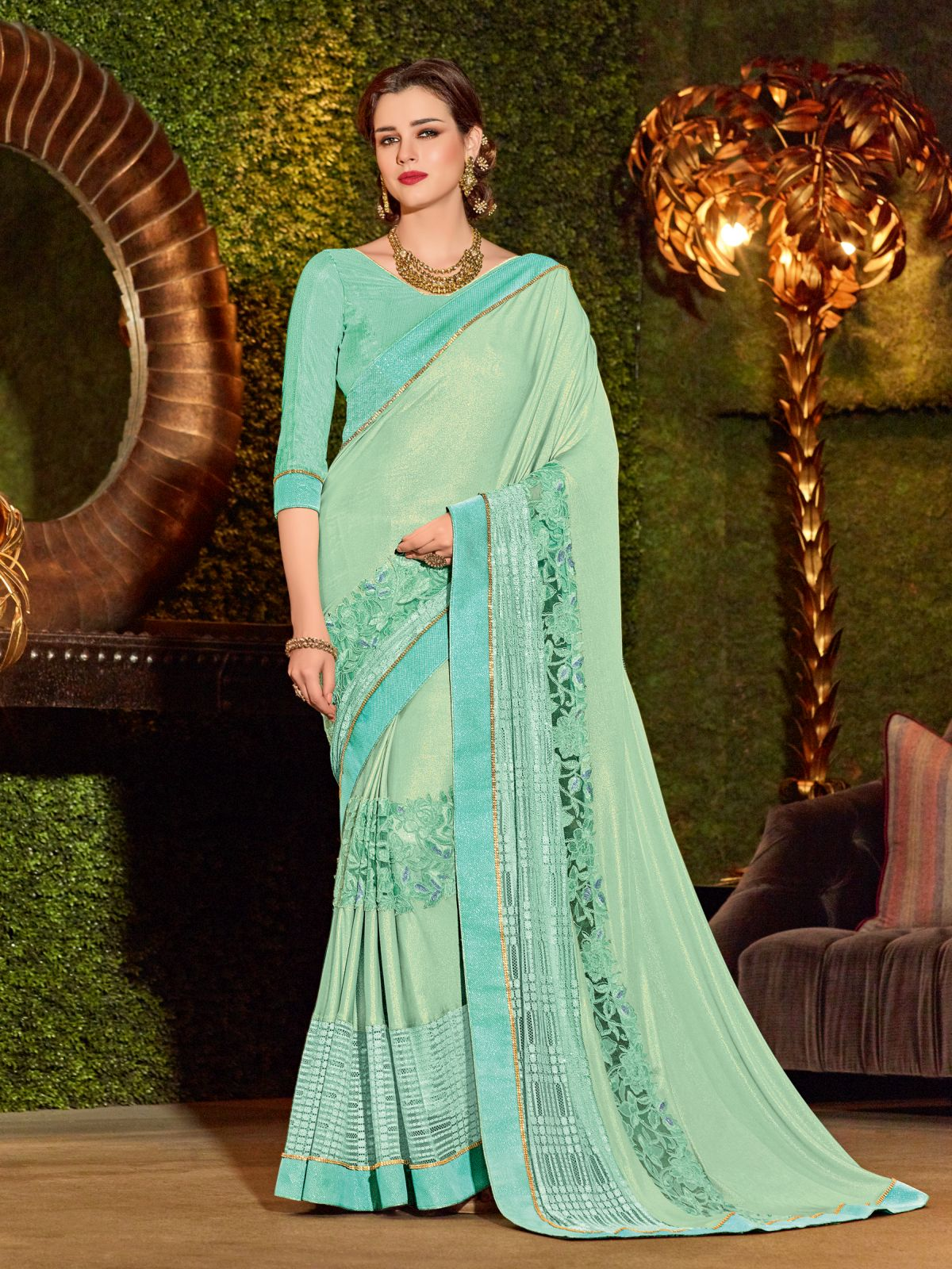 Embroidered Net Saree in SEAGREEN