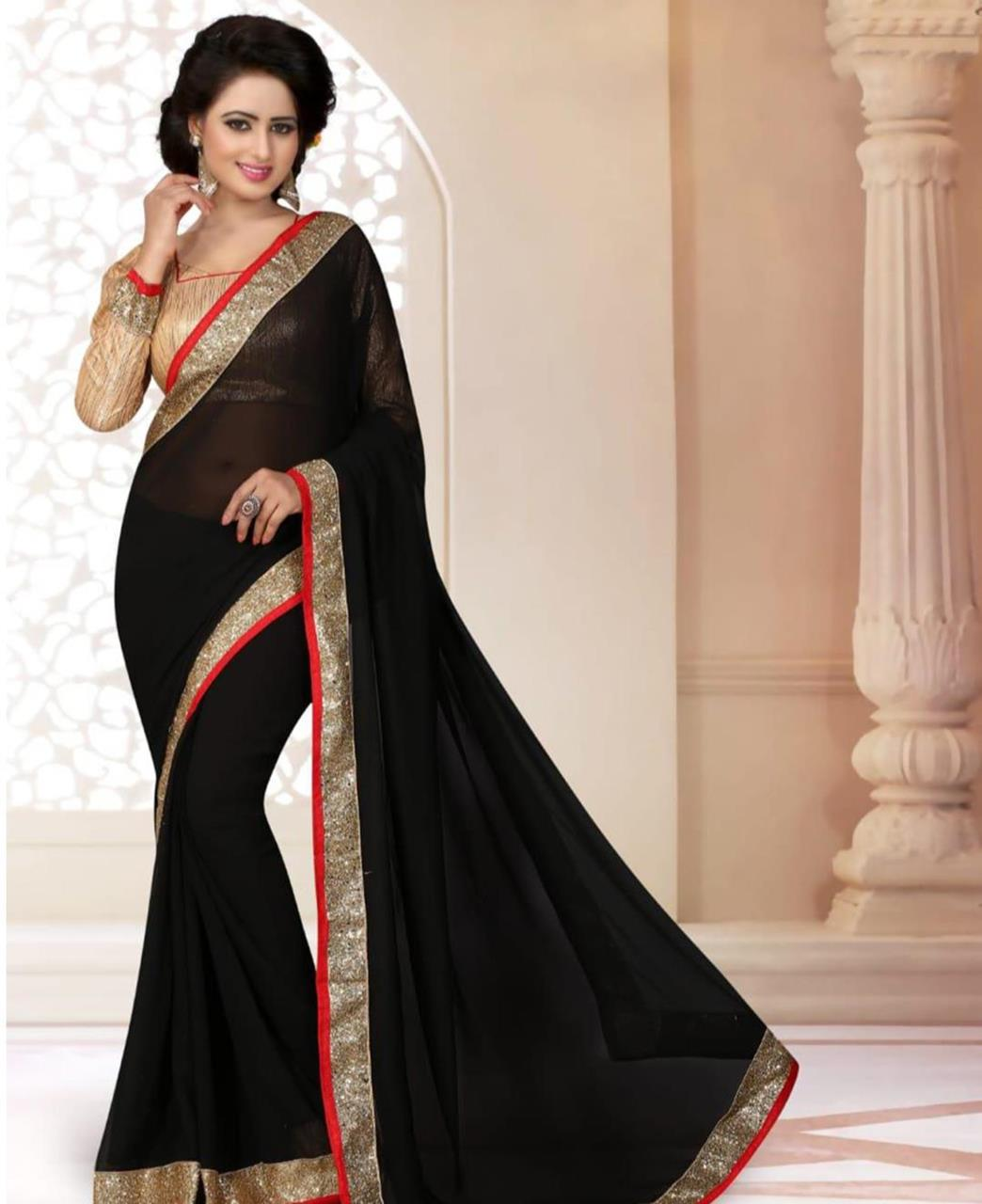 Lace Georgette Saree (Sari) in Black