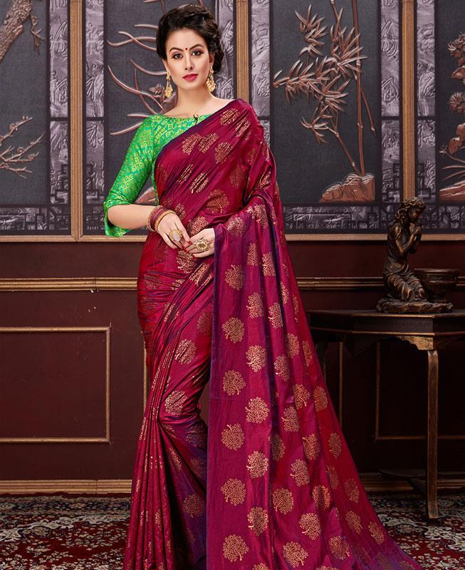 Printed Silk Saree (Sari) in Purple