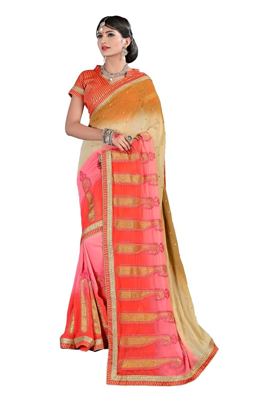 Embroidered Faux Chiffon Saree (Sari) in Orange