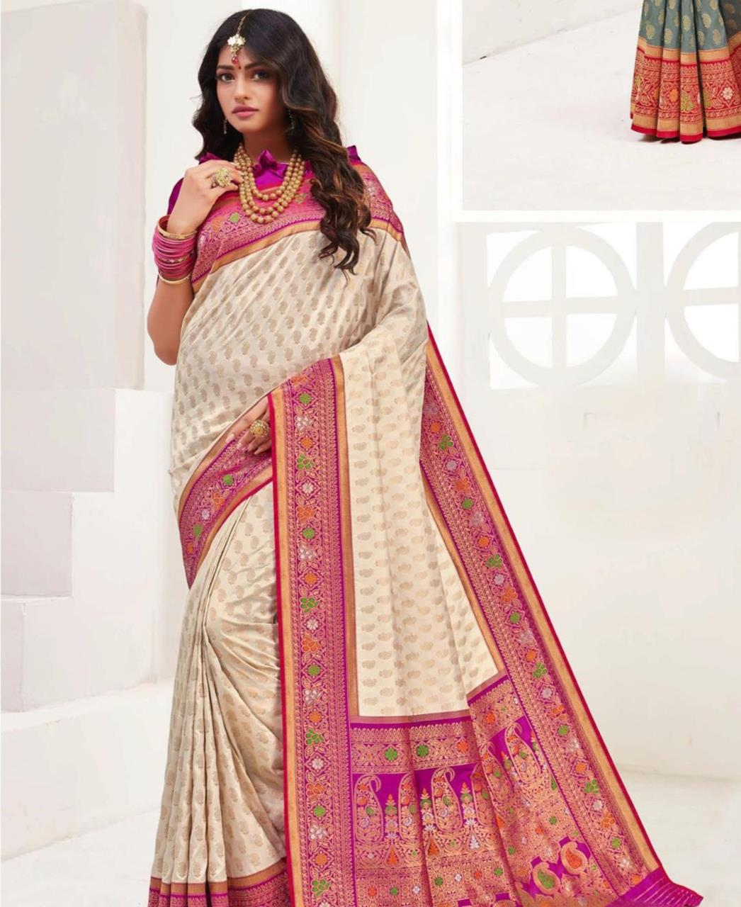 Printed Silk Saree in Off White