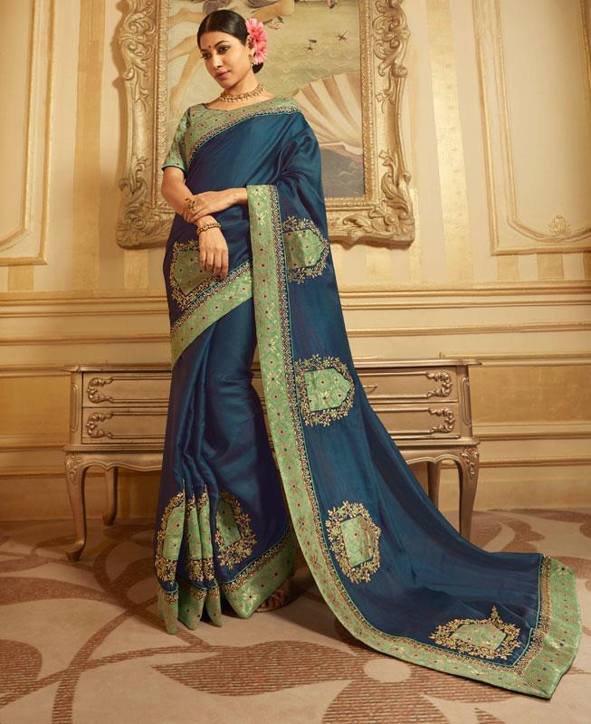 Embroidered Silk Saree in Blue