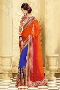 Embellishments Net Saree (Sari) in Red
