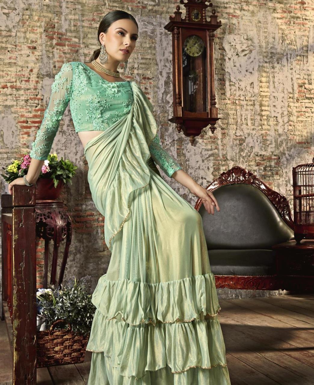 Plain Silk Saree (Sari) in SEAGREEN
