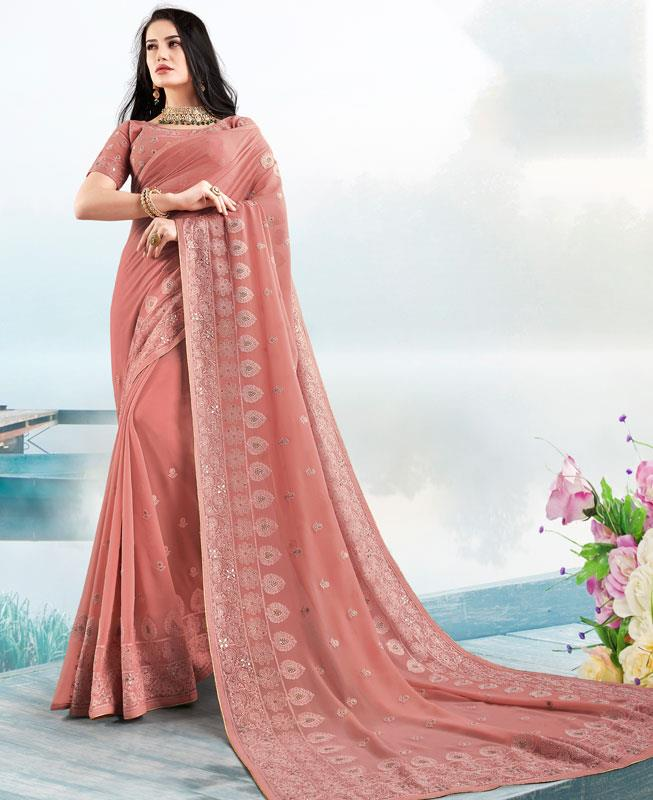 Georgette Saree in Gajri