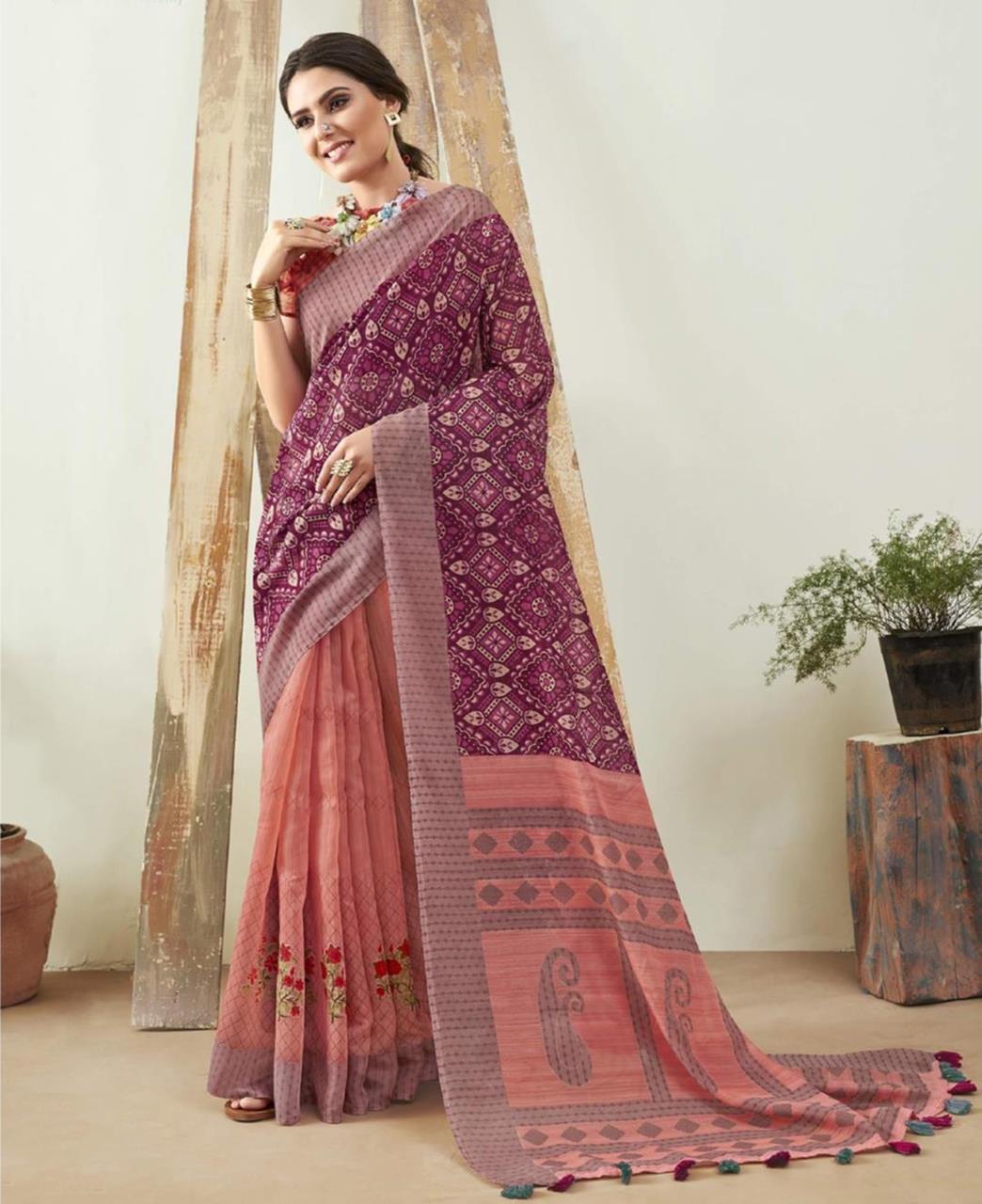 Printed Cotton Saree in Purple  ,  Pink