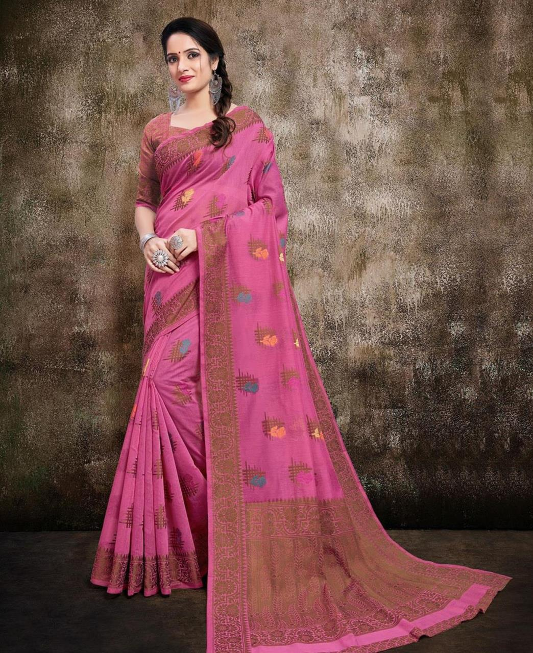 Cotton Saree in Pink