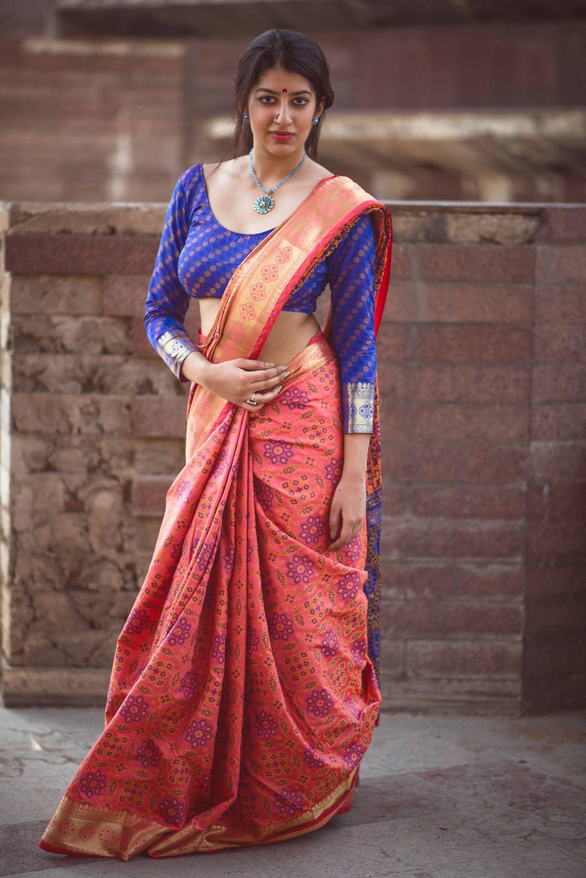 Woven Silk Saree (Sari) in PeachPuff