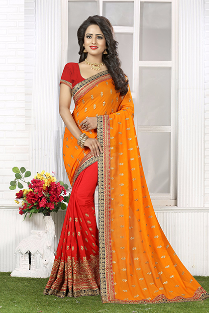 Embroidered Chiffon Saree (sari) in Orange