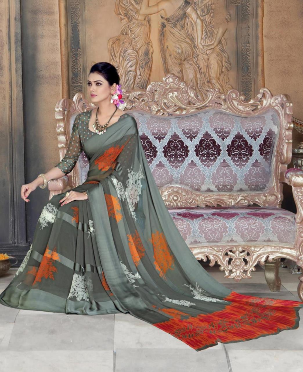 Printed Georgette Saree (Sari) in Gray