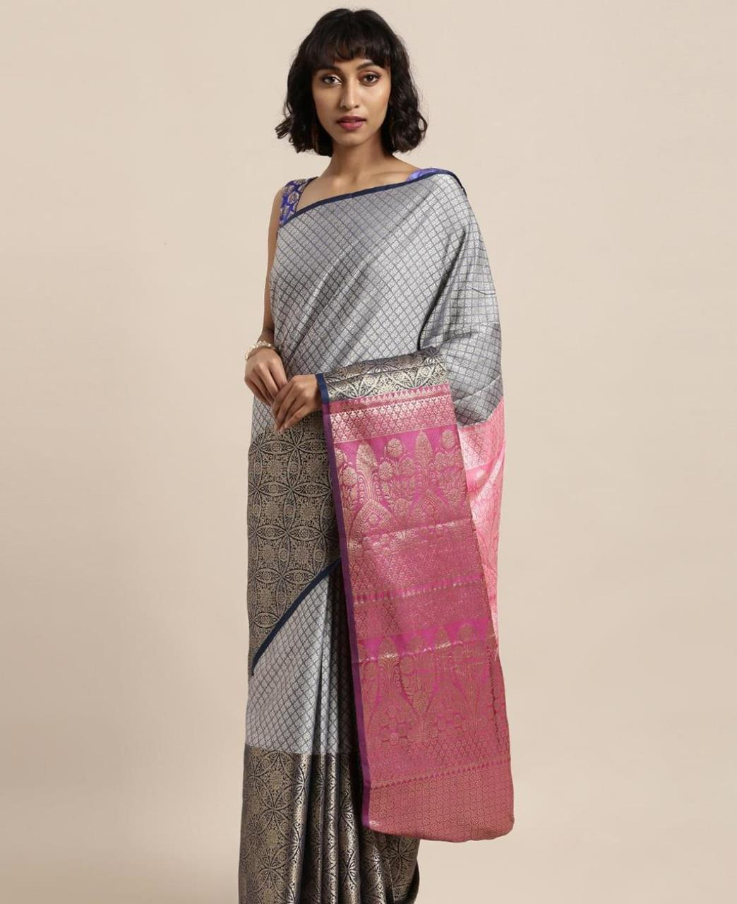 Silk Saree in Navy Blue
