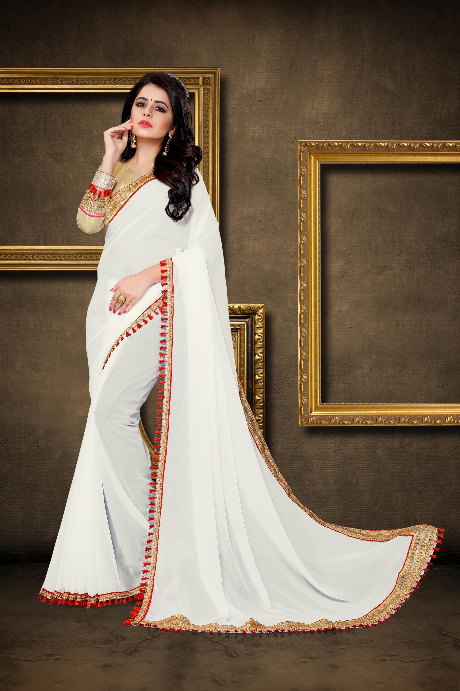 Lace Georgette Saree in White