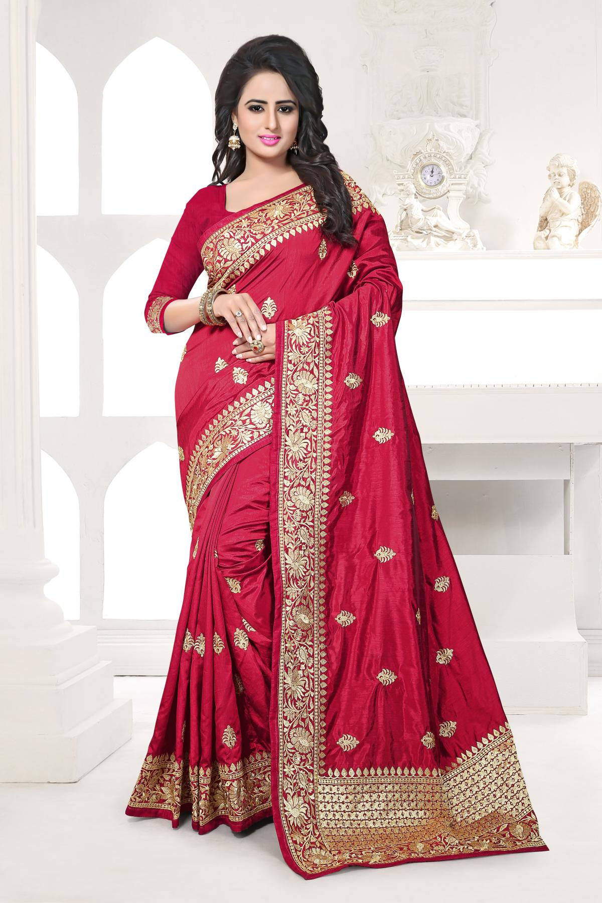 Embroidered Art Silk Saree (Sari) in Maroon