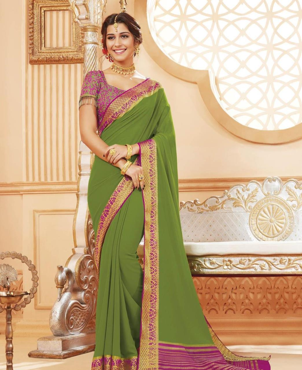 Lace Satin Saree in Green