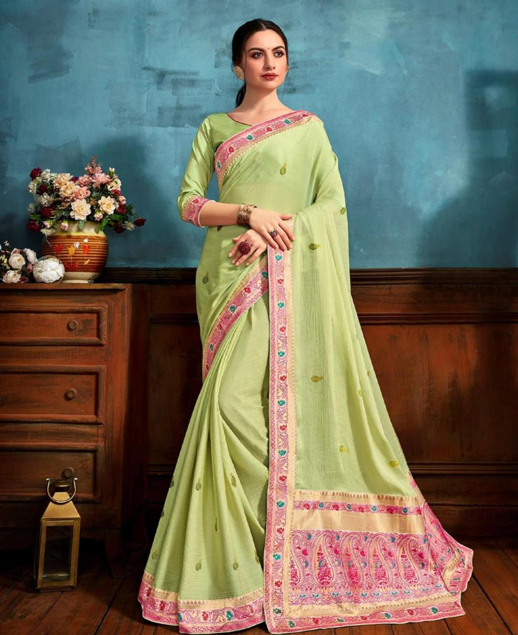 Printed Chiffon Saree in Light Green