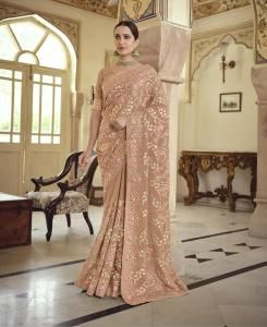 Resham Chiffon Saree in Brown