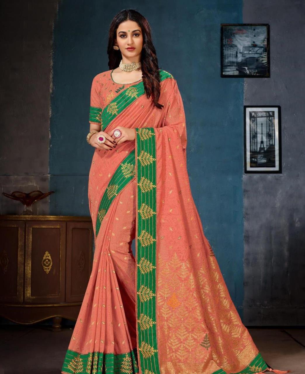 Jacquard Cotton Saree (Sari) in PeachPuff