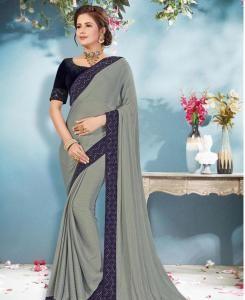 Chiffon Saree in Grey