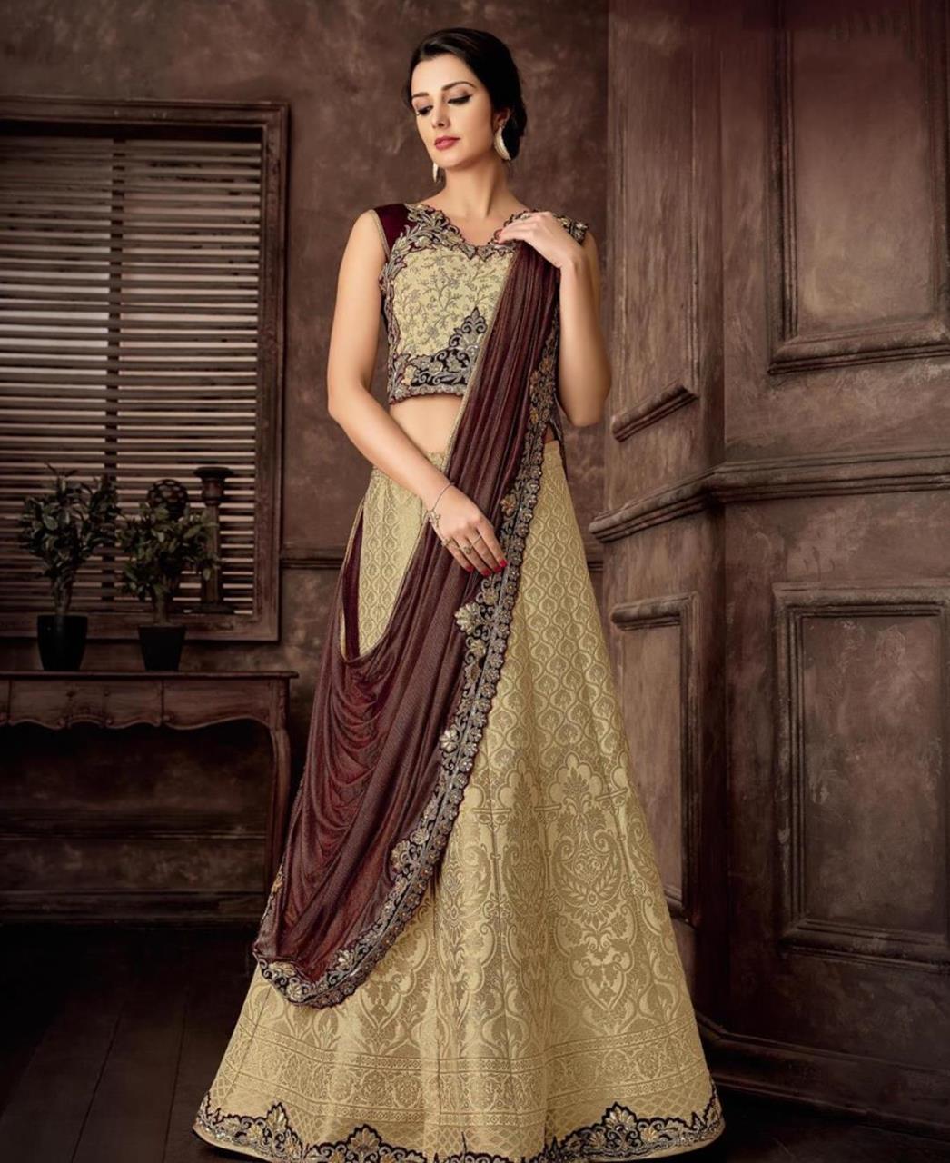 Cord Work Jacquard Saree(Sari) in Cream
