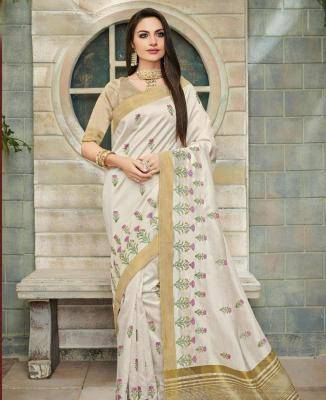 Embroidered Cotton Saree in Offwhite