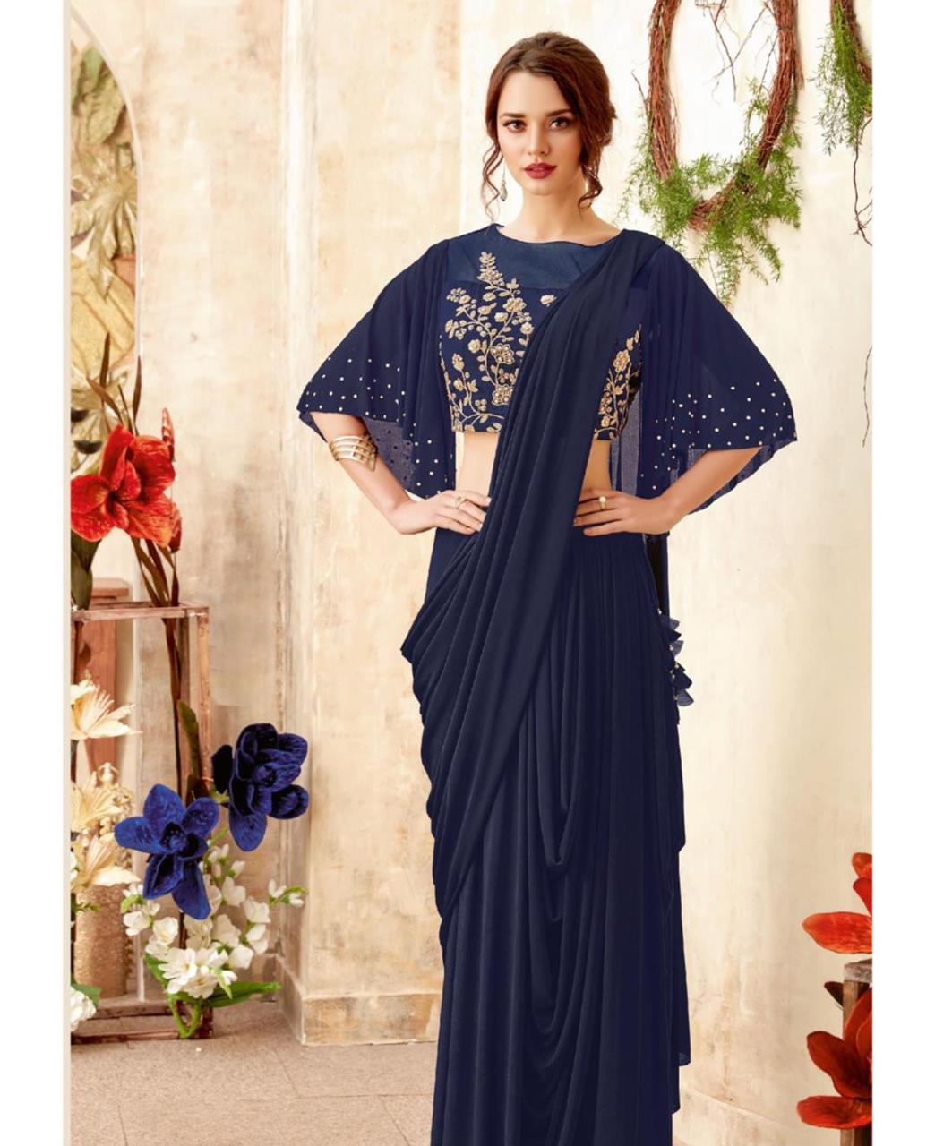 Embellishments Lycra Saree (Sari) in Navyblue