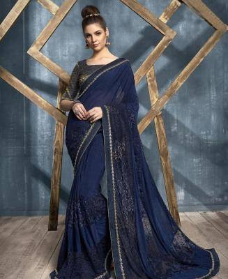 Embroidered Lycra Saree in Navyblue