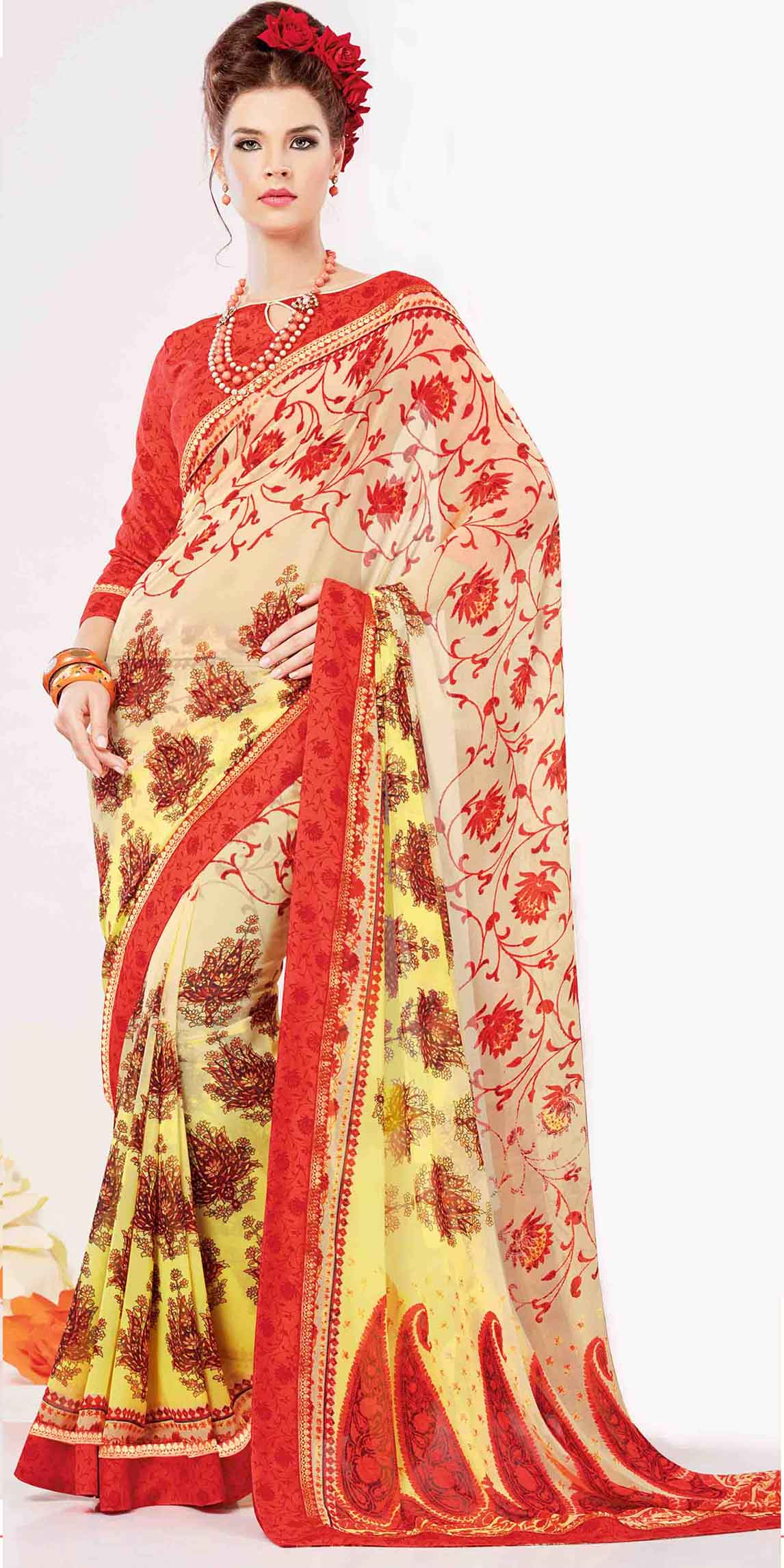 Printed Georgette Saree (sari) in Pink