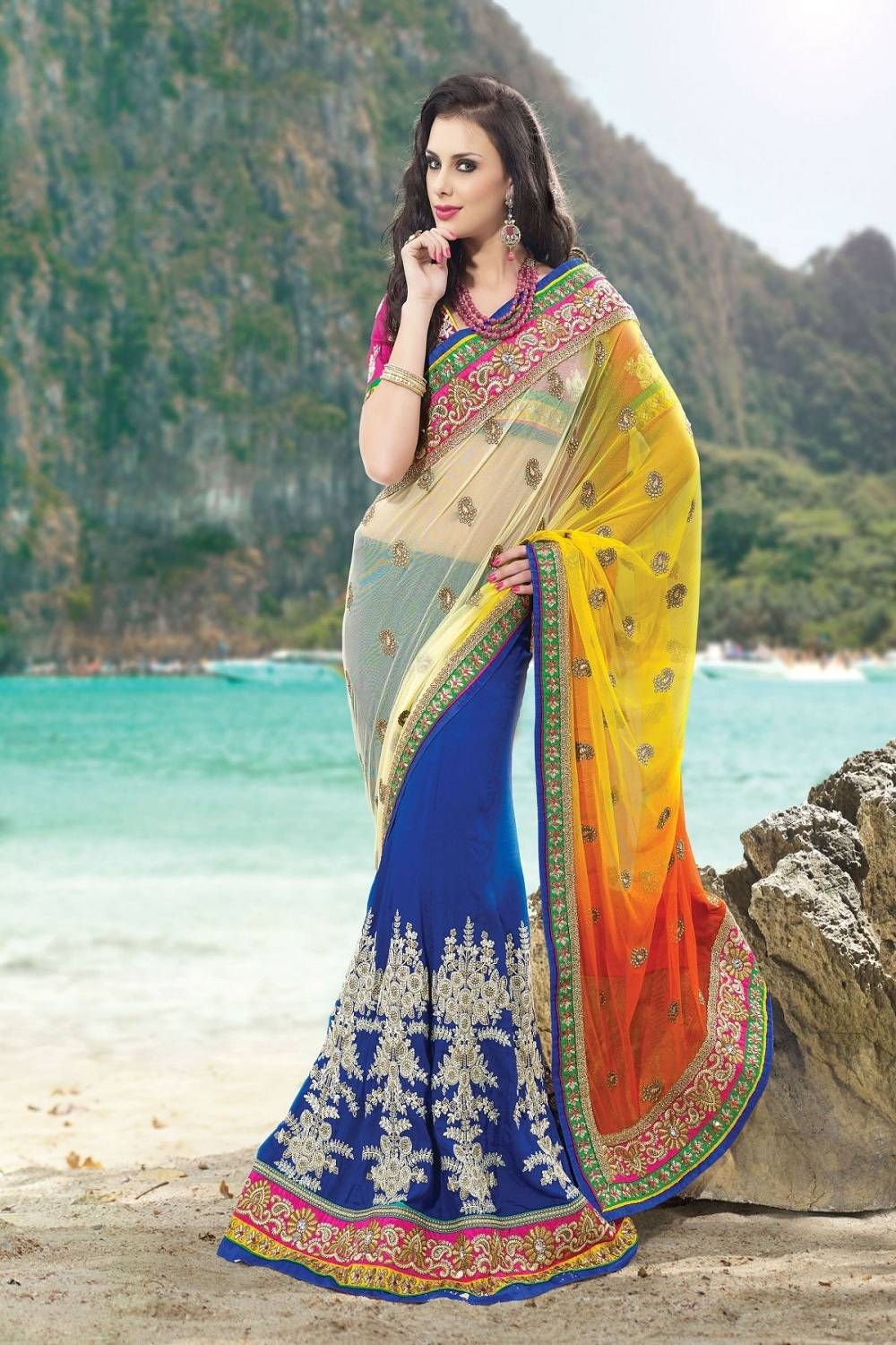 Embroidered Art Crepe Saree (Sari) in Blue