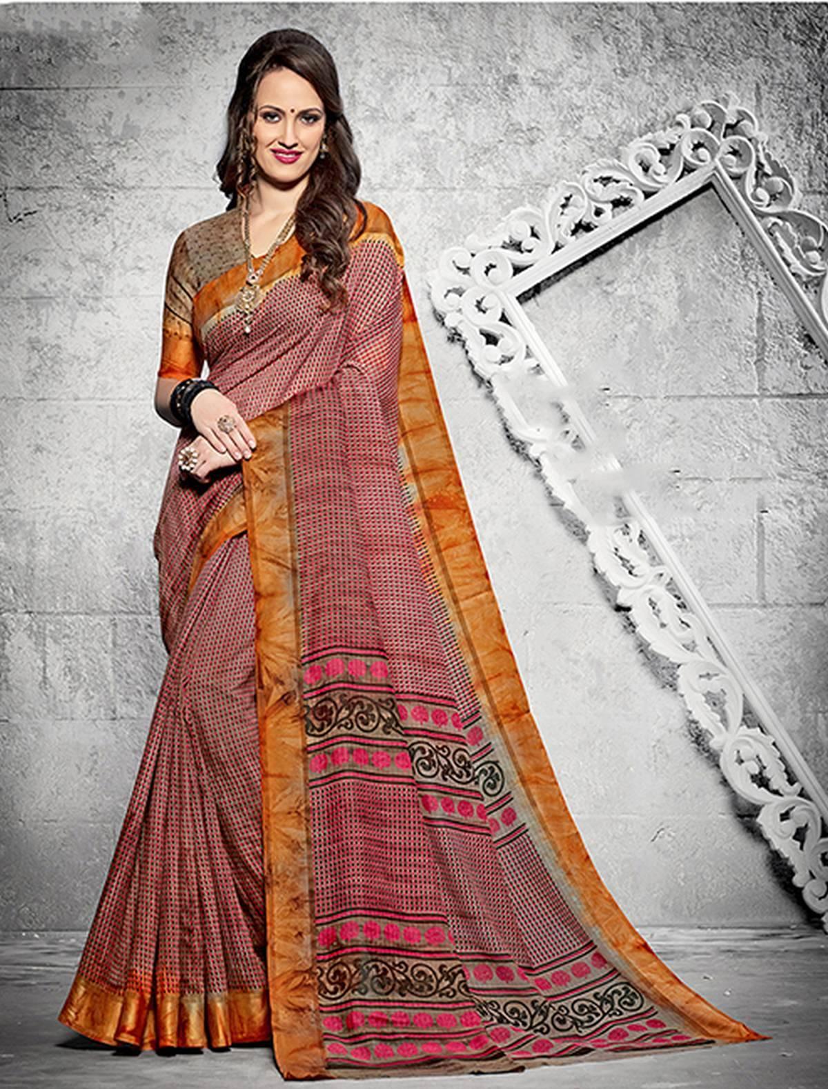 Printed Silk Saree (sari) in Pink