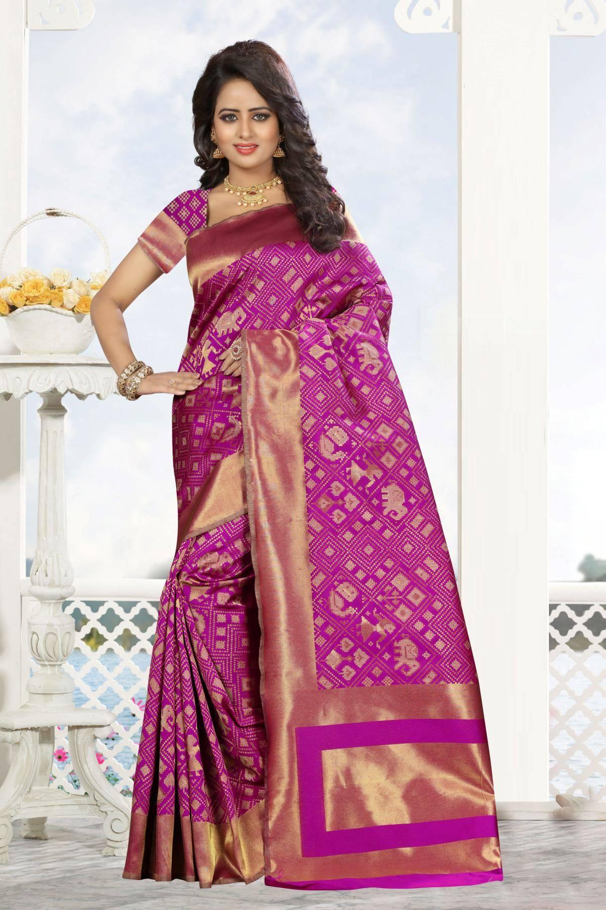 Zari Art Silk Saree (sari) in Pink