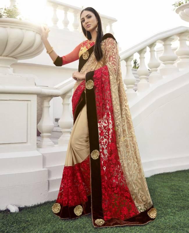 Embroidered Faux Georgette Chiffon Saree (Sari) in Beige