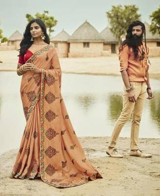 Embroidered Silk Saree in PeachPuff