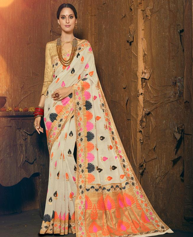 Woven Silk Saree in Offwhite