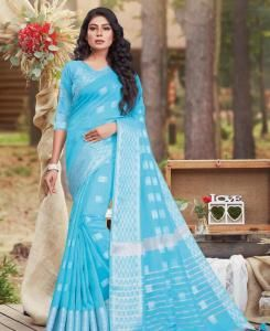 Zari Cotton Saree in Sky Blue
