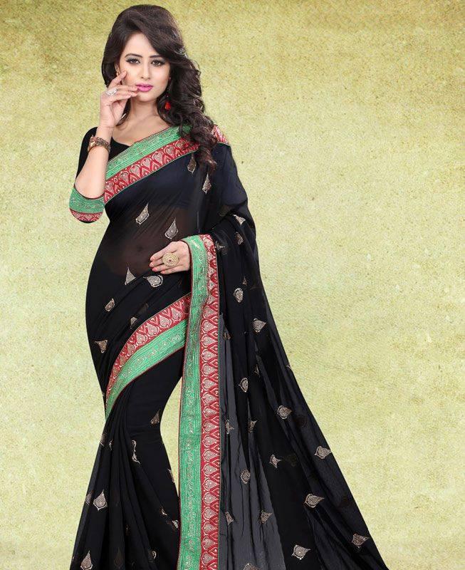 Butta Work Chiffon Saree (Sari) in Black